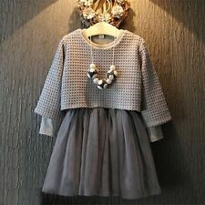 New Girls Kids Autumn Dress Grey Sweater Top with Dress Girls Dress Outfits 2Pcs