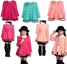 New Cute Children Girls  Fashion Flower Double-breasted Trench Coat