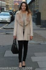 ZARA NUDE PINK WOOL COAT WITH FUR LAPEL AND PATCH POCKETS SIZE MEDIUM