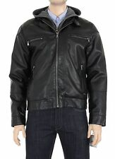 Calvin Klein Black Faux Leather Jacket Coat With Removable Gray Hood