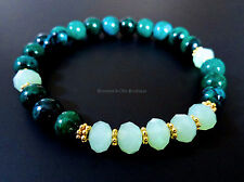 Chrysocolla bead and green crystals bracelet w/ gold accent beads