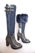 NEW $795 UGG COLLECTION ALDABELLA LEATHER SHEEPSKIN LAMB SHEARLING TALL BOOT 6 7