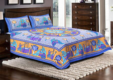 Jaipuri haat Traditional Print Cotton Double Bedsheet with 2 Pillow Covers-