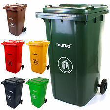 240L Wheelie Bin Household Council Rubbish Recycling Green/Grey Outdoor Waste