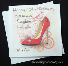 Handmade Personalised Birthday Card Perfect For Shoe Lovers With Gems & Glitter