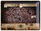 Harley Davidson Brick Wall embossed metal sign with 9 magnets (na 3040) REDUCED