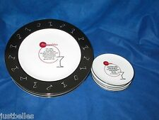 Pottery Barn RETRO BAR Cocktail Plates OR Coasters (replacement dish) Black Rim^