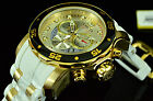 Invicta ProDiver Scuba Gold Plated Chronograph Silver Tone White Swiss Watch NEW