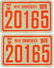 1978 NEW BRUNSWICK SNOWMOBILE Registration Decals MINT Condition