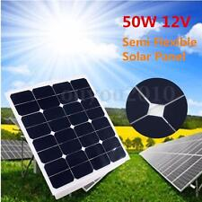 50W 12V Single Crystal Battery RV Boat Charger Solar Panel Semi Power & 3M Cable
