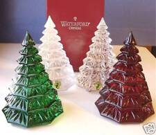 """Waterford Christmas Tree Sculptures Set of 4 -Red, Green, Gold & Clear 6.5""""H NIB"""