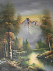 forest trees snow mountains river large oil painting canvas landscape water art