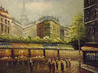 colorful old paris aifel tower street large oil painting canvas cityscape french