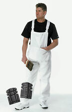 FFTJ Painters Bib & Brace White Cotton Drill Decorator *WITH KNEE PADS*  (PC186)