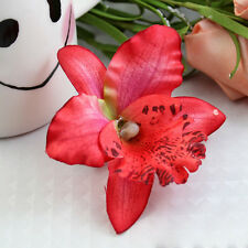 Women Ladies Beach Vacation Red Orchid Bridal Party Flowers Hair Clip