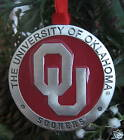 OU PEWTER ENAMEL CHRISTMAS ORNAMENT University of Oklahoma Sooners gift new!