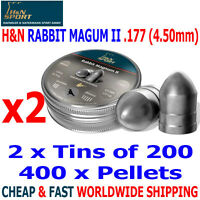 H&N RABBIT MAGNUM II .177 4.50mm Airgun Pellets 2(tins)x200pcs FAC HUNTING & FT