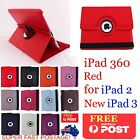 THE NEW IPAD 2ND 3RD 4TH GEN RED 360° ROTATING SMART CASE COVER RETINA