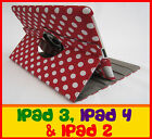 THE NEW IPAD 2ND 3RD & 4TH GEN RED POLKA DOT 360° ROTATING SMART COVER CASE