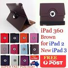 THE NEW IPAD 2ND 3RD & 4TH GEN BROWN 360° ROTATING SMART CASE COVER 4G