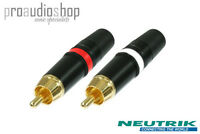 1 Pair Rean (Neutrik) RCA Phono Plugs Red & White (1x NYS373-2 and 1x NYS373-9)