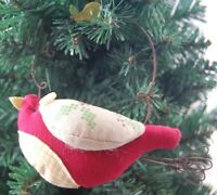 Gisela Graham Christmas Decoration -  Red Fabric Bird