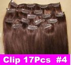 """26"""" Remy Human Hair Clip In Extension #4 100g 17Pcs Straight Long thick hair"""