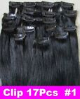 """26"""" Remy Human Hair Clip In Extension #1 100g 17Pcs Straight Long thick hair"""