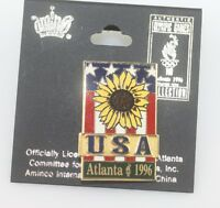 1996 ATLANTA SUMMER OLYMPICS SUNFLOWER WITH RED,WHITE,BLUE AND STARS USA