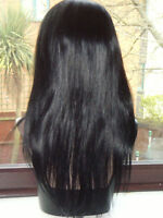 SILKY STRAIGHT FULL LACE WIG INDIAN REMY HUMAN HAIR WIG 16 inches 1 BLACK