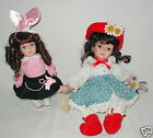 "Two 9""-12"" bisque dolls, Duck House &1950's outfit VGC"