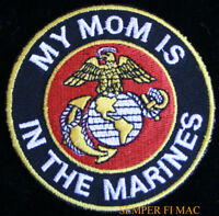 MY MOM IS IN THE US MARINES HAT PATCH USMC DAUGHTER SON DAD PIN UP GIFT WM WOW