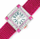 LADIES SIMULATED DIAMOND PINK CROCO-PRINT STRAP WATCH
