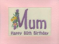 Embroidered Personalised  Mum  Birthday Greeting Cards