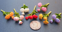1:12 Bunch Of 3 Dolls House Miniature Clay Carnation Flowers Garden Accessory