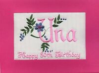 Embroidered Personalized  80th  Birthday Greeting Cards Mum or any name