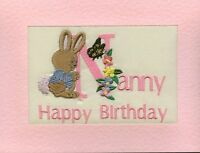 Embroidered Personalised Nanny  Birthday Greeting Cards