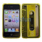 CLEAR CASSETTE TAPE Yellow TPU GEL COVER CASE For VERIZON ATT SPRINT IPHONE 4S