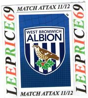 MATCH ATTAX 11/12 LIMITED EDITION CLUB BADGE WEST BROMWICH ALBION