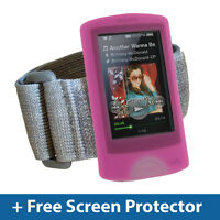 Pink Silicone Skin Case Cover Armband for Sony Walkman NWZ-A865 NWZ-A864 Series