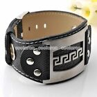 Mens Stainless Steel Black Leather Belt Buckle Greatwall Bracelet Cuff Wristband
