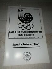 1988 Summer Olympics Seoul Sports Infomartion Media Guide