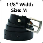"1-1/8"" Width Black Leather Belt With Buckle - Size M, 33"" - 37"""