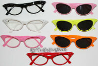 PINK LADIES STYLE SUN GLASSES SHADES - VARIOUS COLOURS - 50s GREASE 60s HIPPY