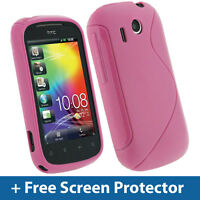 Pink Dual Tone TPU Gel Case for HTC Explorer Android Cover Skin Holder A310e