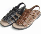 New Mann Mens Casual Sandals Shoes Adjustable Fisherman Synthetic Black Brown