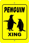 PENGUIN Xing Crossing caution farm animal gift METAL aluminum tin sign #A