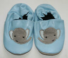 NEW PU LEATHER BABY CRIB SHOES SLIPPERS LIGHT BLUE ELEPHANT 0-6 Months