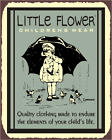 Little Flower Clothing Vintage Metal Art Childrens Sewing Retro Tin Sign