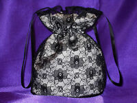 BNWOT Ivory duchess satin and black lace dolly bag